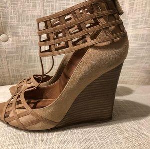 Derek Lam Nude Beryl Caged Sandals Wedges